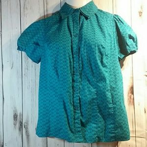 Woman's teal Lane Bryant blouse size 14